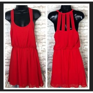 NEW Dee Elle Red Chiffon Cage Back Dress